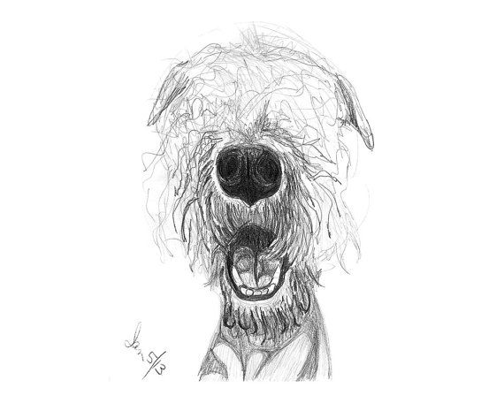 Custom Pencil Portrait Pet Dog Sketch From Photo by Inklets