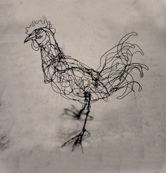 Bantam RoosterWire Drawing Sculpture art by sugarsusan on Etsy, $95.00