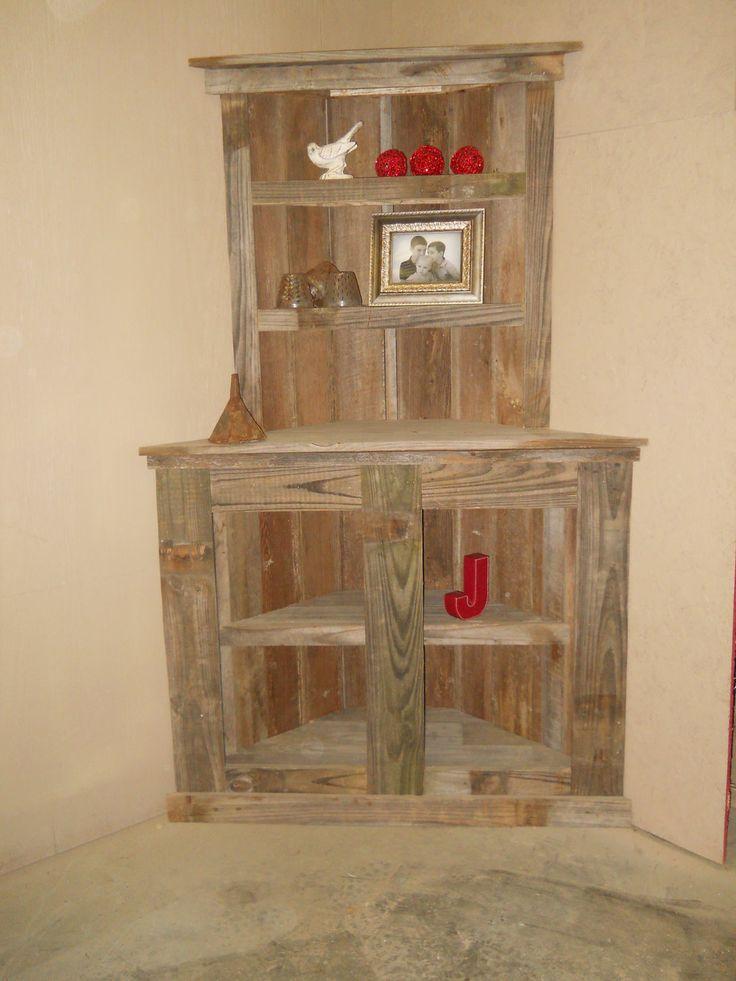 Reclaimed Wood Bookcase, Barnwod furniiture, Reclaimed wood corner shelf, Rustic  Bookcase, barnwood Corner Bookcase