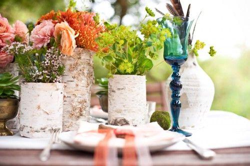 Bark lined vases