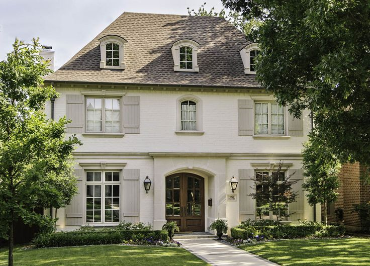 exterior shutters dallas. french home with gray shutters, transitional, exterior shutters dallas