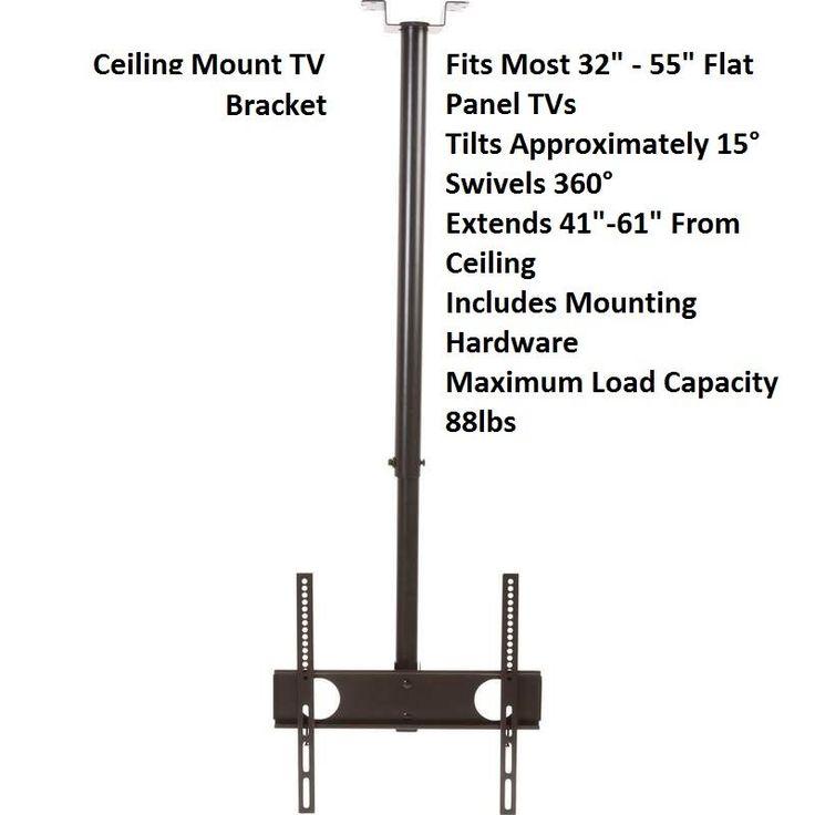 LCD LED PLASMA FLAT TILT AND SWIVEL TV CEILING MOUNT TV BRACKET 88 LBS LOAD  #Brateck
