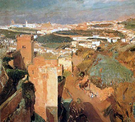 La Torre de los Siete Picos en la Alhambra - Joaquín Sorolla