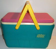 Vtg 90s Cooler Picnic Basket IGLOO 1990s NEON TEAL Beach Retro Dayglo Ice Chest