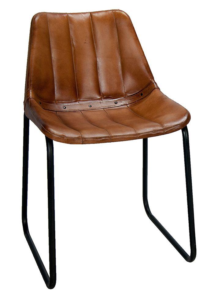 mews sillas vintage tapizadas en cuero acolchado a rayas y pie patn en hierro chaise designideas
