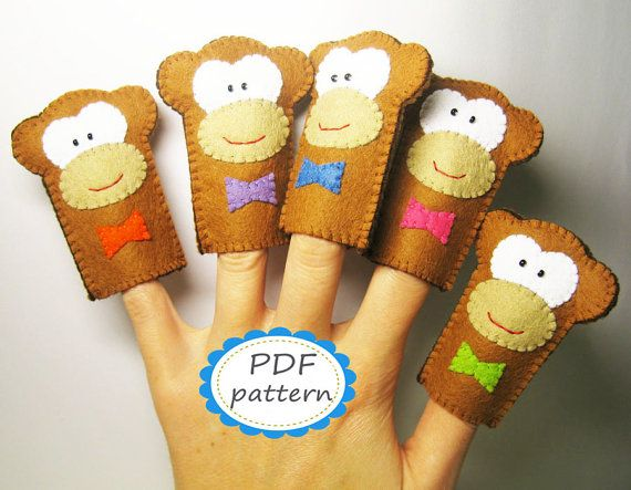PDF PATTERN: Five Little Monkeys - Finger Puppets Set sewing tutorial - Handmade Soft brown Animal Toy DIY hand stitch - Instant Dawnload