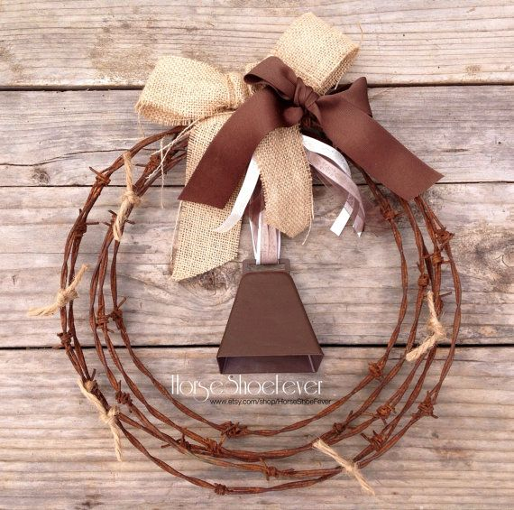 © Cowbell Barbwire Wreath. Western Home Decor by HorseShoeFever. Rustic, Vintage, Beef, Cattle, a Fences, Babwire, Rodeo, Gift, Weddings, Cowboy, Cowgirl, Fall, Nuetral