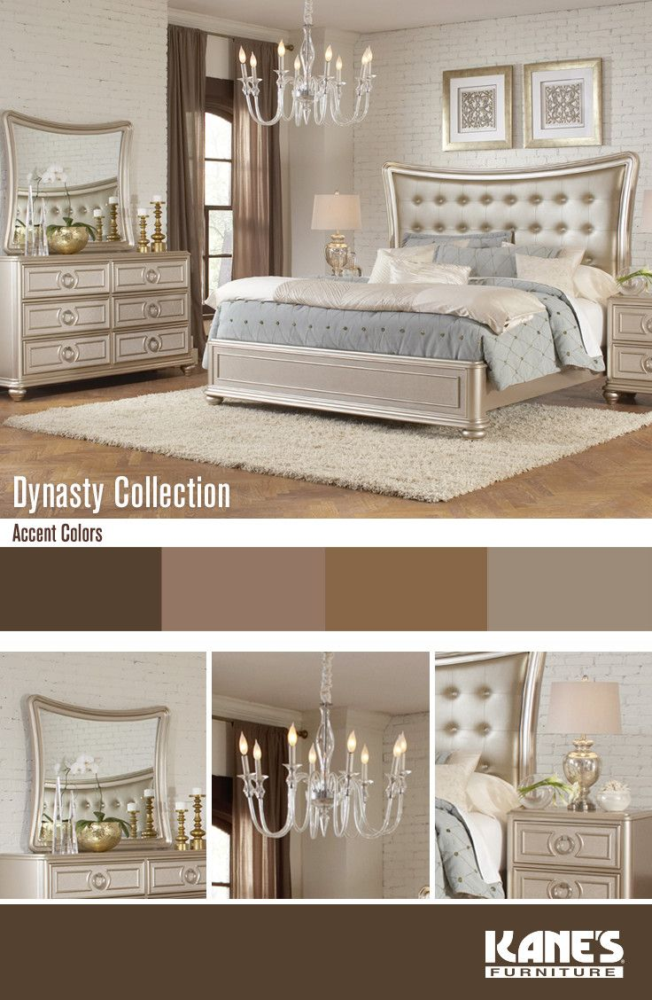 Meet the Dynasty bedroom set where elegance and glamour have combined with beautiful detailed molding. Live royally by complimenting the champagne finish with muted nudes, browns, and whites.