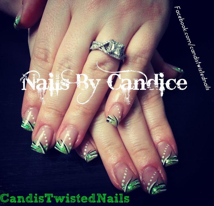 Green Nail art. Follow me on Facebook | Nail art | Pinterest