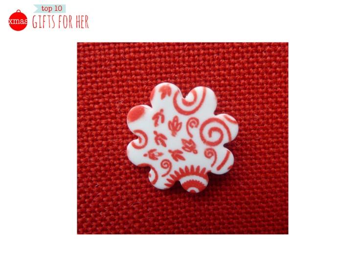Handmade Red Ceramic Brooch by Magoolie Designs