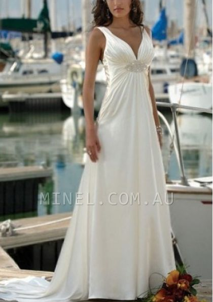 Satin A-Line Ruched Backless Beach Wedding Dresses - 1650205 - Beach Wedding Dresses