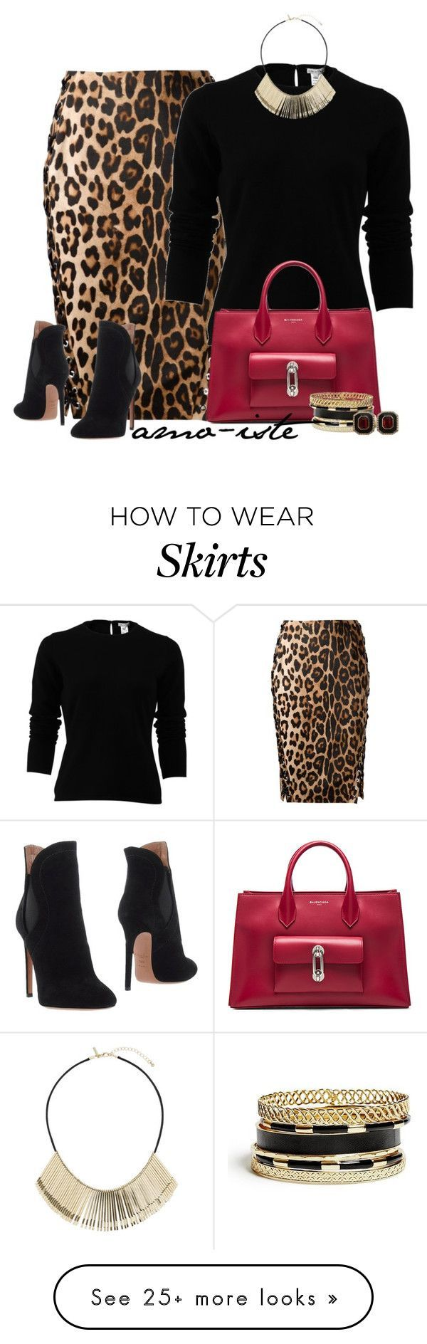 """Leopard Skirt"" by amo-iste on Polyvore featuring Altuzarra, Oscar de la Renta, Balenciaga, GUESS, Ciner, Topshop and Alaïa"