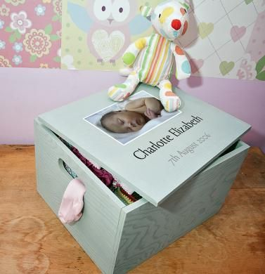 Personalised New Baby Memory Box with photo