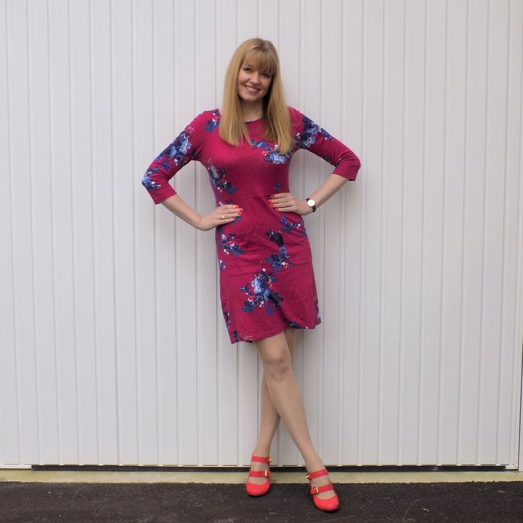 Bright Pink Floral Dress with Orange Shoes. Pink dress, day dress, smart dress, jersey dress, bright dress