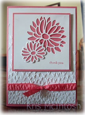 I thought I would share with you the Thank You cards I sent out to my customers for placing orders during the month of January. I embossed Whisper White card using the Falling Petals Embossing Fo…