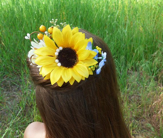 Bridal hair comb Sunflower floral crown Rustic bridal comb Summer wedding crown Boho wedding comb Garden bride hair Rustic hair comb