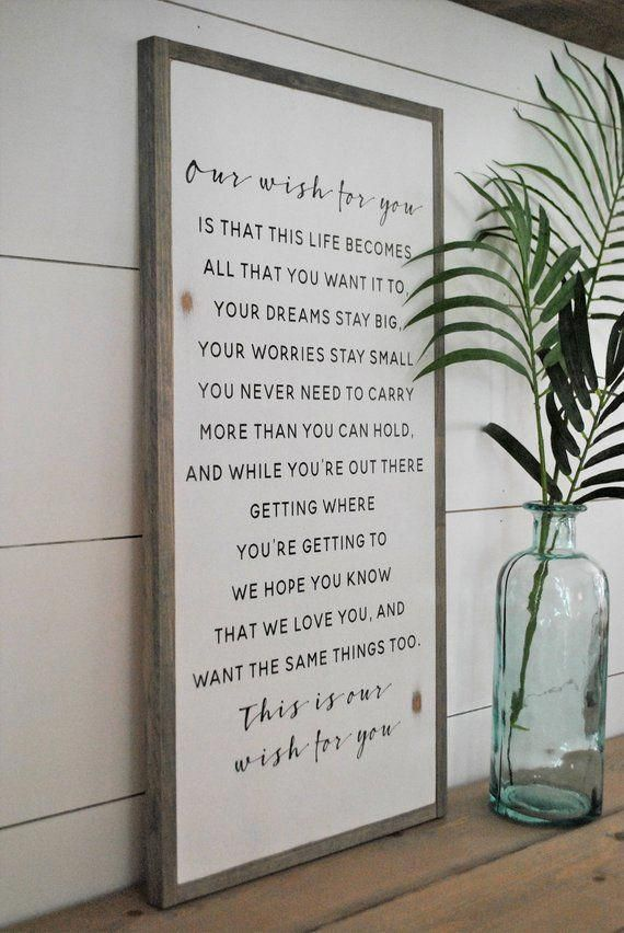 OUR WISH for you 1\u0027X2\u0027 distressed rustic wall decor painted