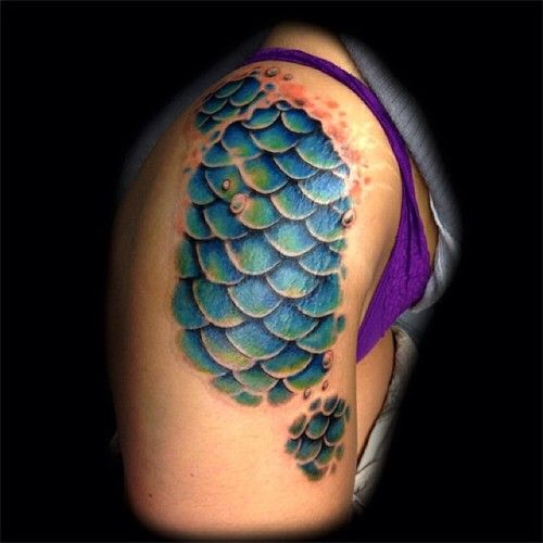 mermaid scale hip tattoo - Google Search