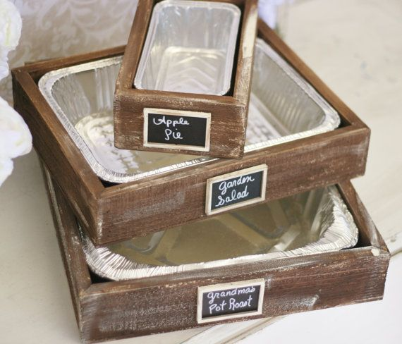 Serving trays with chalkboard labels sized to fit disposable foil inserts