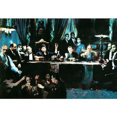 Mafia Gansters Collage (Godfather Goodfellas Scarface Sopranos) Movie Poster Print