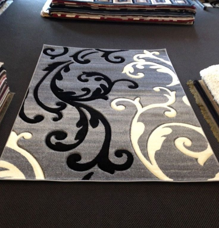 decorative white black and gray area rugs for home with artistic pattern  for sale