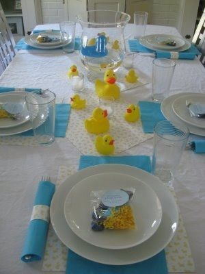 boy baby shower centerpieces for the tables could use pink ducks and pink napkins for a girl