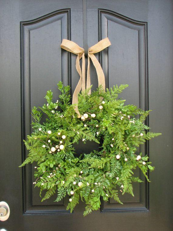 Summer Wreaths   Boxwood Fern and Burlap