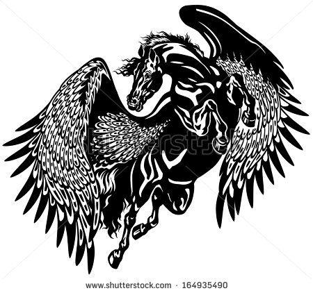 Pegasus Horse Black And White Tattoo Illustration - 164935490 ...
