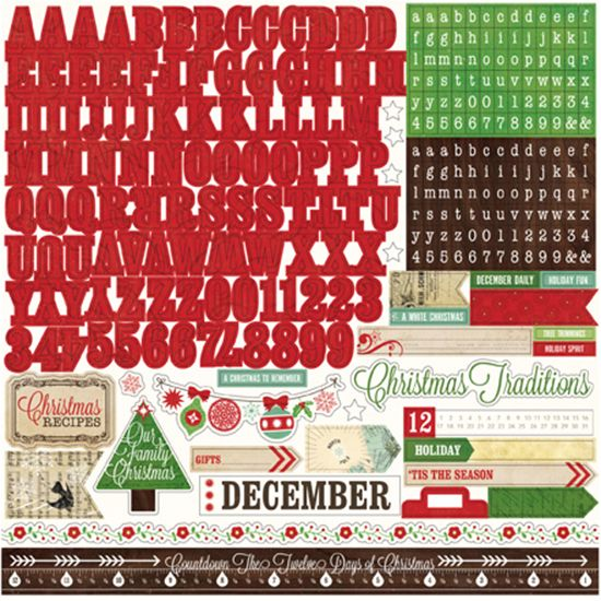 Echo Park - Reflections Collection - Christmas - 12 x 12 Cardstock Stickers - Alphabet at Scrapbook.com