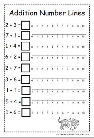 Free number line addition worksheets