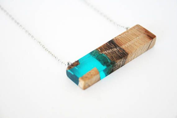 Blue Rectangle Wood & Resin Pendant Resin Wood Necklace