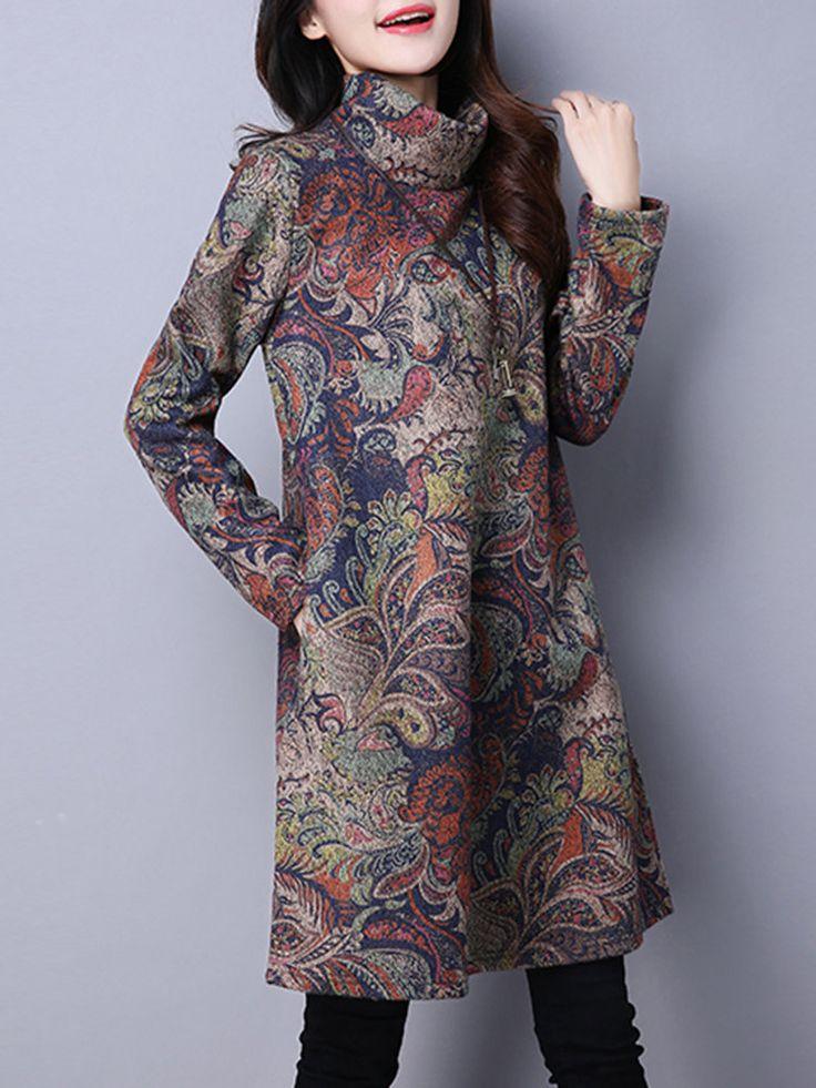 Vintage Ethnic Printed Turtleneck Long Sleeve Thicken Dresses