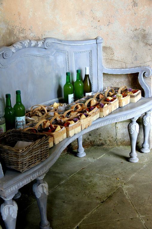 The picnic baskets laid out at Rousham Park for guests on Arne's garden course, June 2013.