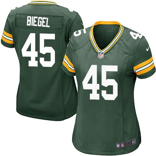 Women's Nike Green Bay Packers #45 Vince Biegel Game Green Team Color NFL Jersey