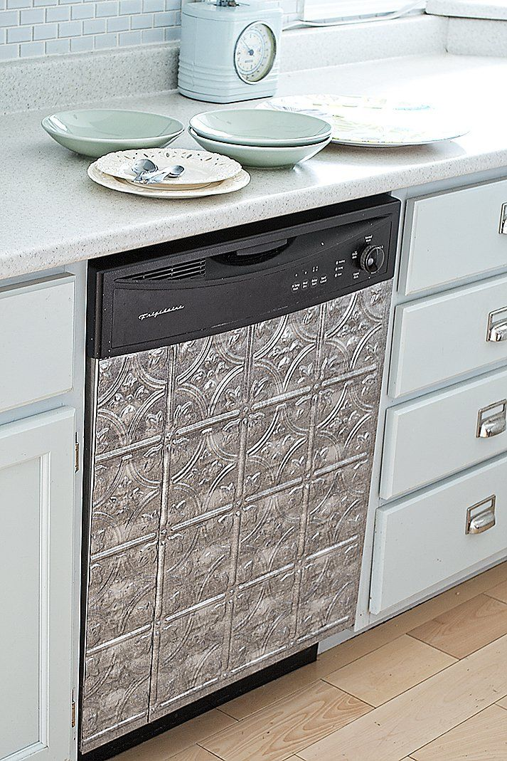 Faux Tin Vinyl Tiles Cover A Stainless Steel Dishwasher To Add Vintage  Detail To This