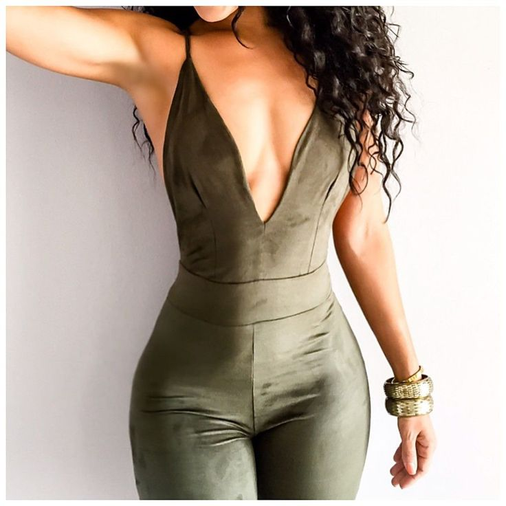 Fitted Jumpsuit Faux Suede