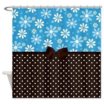 Blue Daisies Brown Polka Dots Shower Curtain