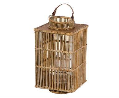 Lanterna in bambu' vetro e pelle naturale Lova