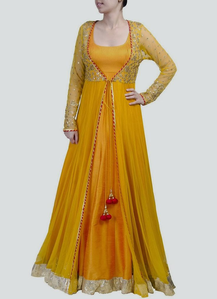 Mustard yellow color floor length anarkali dress