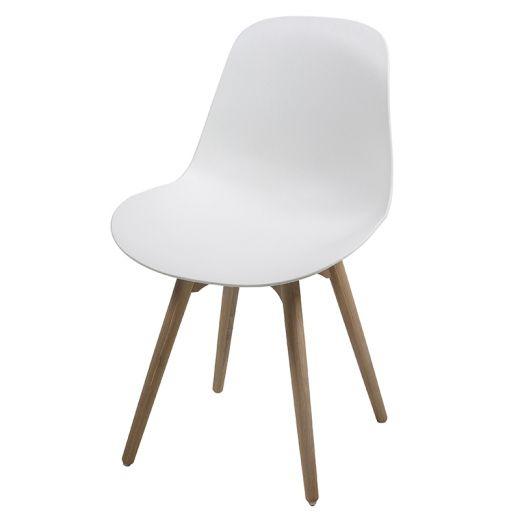 Jídelní židle s masivními nohami Shale (SET 2 ks) bílá - 1