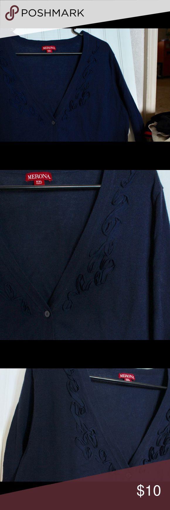 Navy blue cardigan w/ floral detail Navy blue cardigan w/ long sleeves and floral detail around neckline Merona Sweaters Cardigans