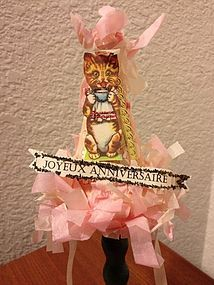 French Happy Birthday with Cat ~ Dresden Party Hat - Lee Feickert - The Little Ones #dollshopsunited