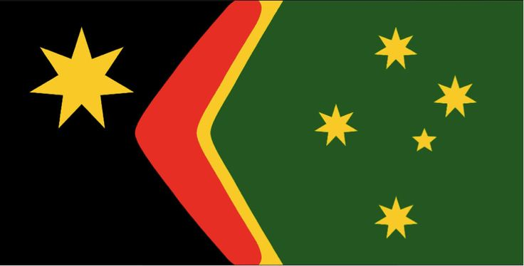 #StevenSquires #JohnBlaxland, I further modified the 3 versions of the Reconciliation flag for Australia that I modified a few days earlier.They are now in a 2:1 ratio to match the majority of Australia's other flags (which are 2:1), and I moved the Federation Star away from the boomerang, both on the advice of supporters on this page. What do you think? https://web.facebook.com/photo.php?fbid=10204452264100464&set=pcb.10153537469668402&type=3&theater #Ausflags