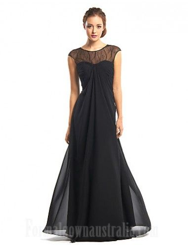 39e55e07a09  blackformaldress Australia Formal Evening Dress Black A-line Jewel Long  Floor-length Chiffon Formal Dress Australia  formalgownaustralia