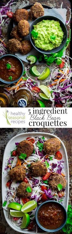 These crispy 5-ingredient black bean croquettes are an easy vegetarian appetizer to serve for a Cinco de Mayo party. Serve them with guacamole or salsa. /healthyseasonal/ | Healthy Seasonal Recipes