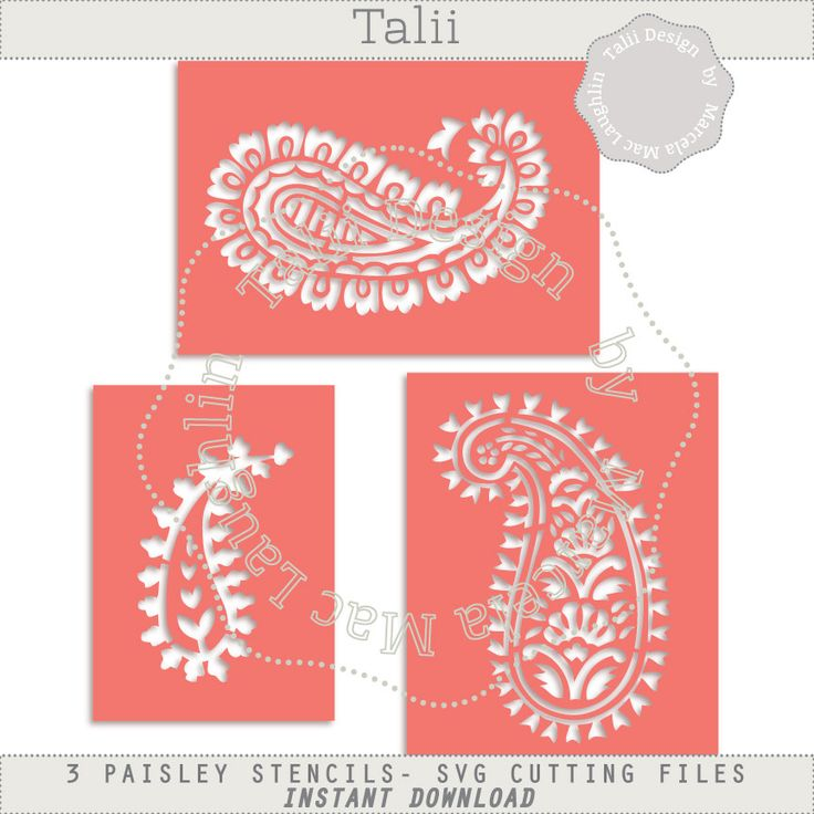 Paisley Stencil SVG Cutting Files- 3 Indian Stencils Arabesques Die Cut Files Silhouette Studio Svg Dxf Clipart Templates Easy cut print PDF by HelloTalii on Etsy