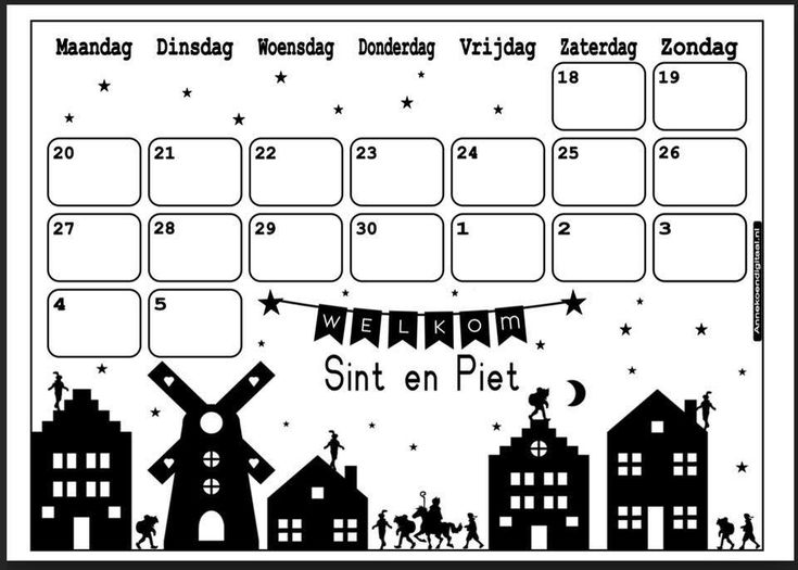 Een soort agenda afstreepkalender om te gebruiken voordat sint in de klas komt!