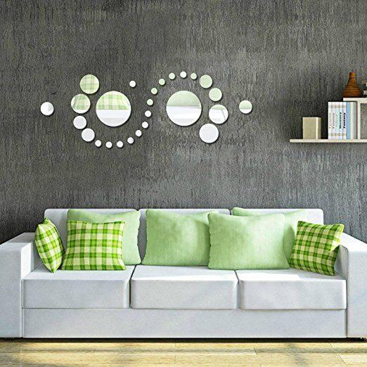 Alicemall Spiegel Aufkleber 3D Wandaufkleber Fenster Abziehbilder Wand  Dekoration TV Hintergrund Deko Wandtatoo   Spiegelfläche Blumen