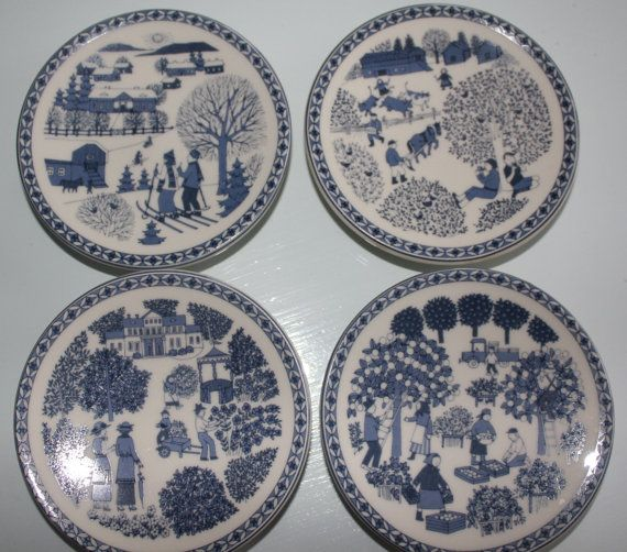 Complete Wall plate set of 4 petite Seasons by FinnishTreasures, $240.00