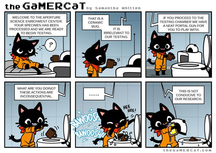theGaMERCaT Online Comic || Toilet Science (GaMERCaT © Samantha Whitten; Portal © Valve Software)